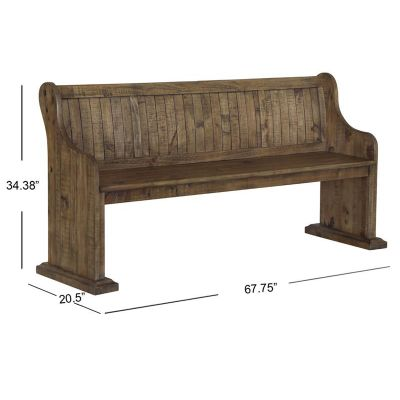 Willoughby Weathered Barley Bench with Back