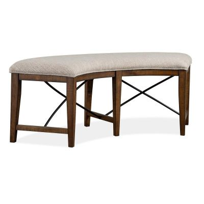 Bay Creek Toasted Nutmeg Curved Bench with Upholstered Seat