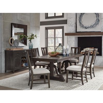 Westley Falls Graphite Trestle Extendable Dining Room Set