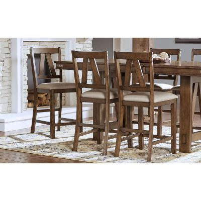 Eastwood Gunsmoke Gray Slatback Upholstered Counter Height Stool Set of 2