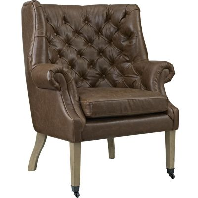 Jisda Upholstered Vinyl Lounge Chair in Brown