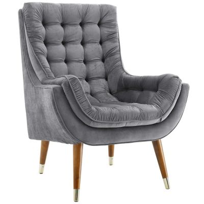 Beksho Performance Velvet Tufted Lounge Chair