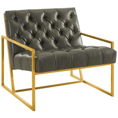 Boka Antique Gold Stainless Steel Faux Leather Accent Chair