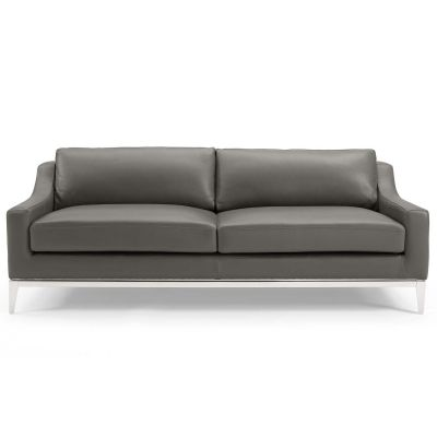 Eicha 83'' Stainless Steel Base Leather Sofa Couch