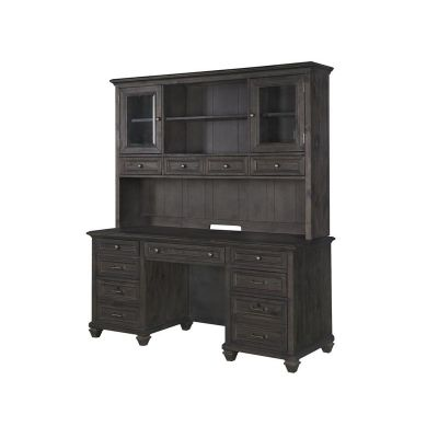 Sutton Place Weathered Charcoal Credenza with Hutch