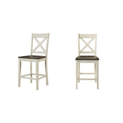 Huron Chalk & Cocoa Bean X-Back Barstool Set of 2