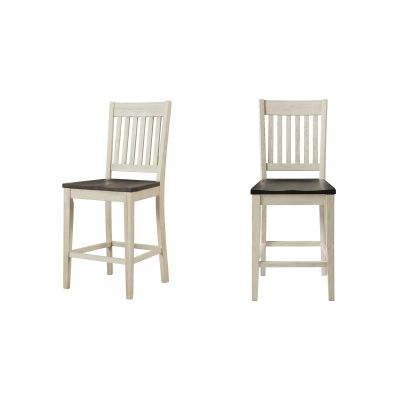 Huron Chalk & Cocoa Bean Slatback Barstool Set of 2