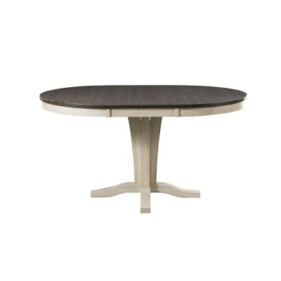 Huron Chalk & Cocoa Bean 42''  Extendable Round Pedestal Dining Table