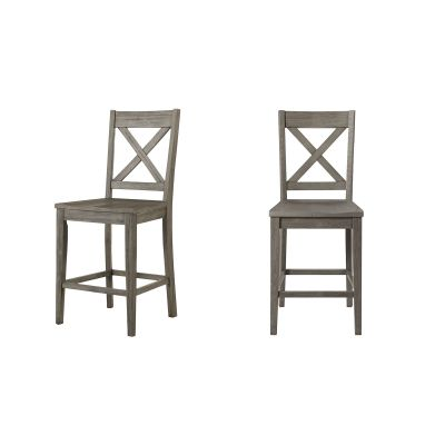Huron Distressed Gray X-Back Barstool Set of 2
