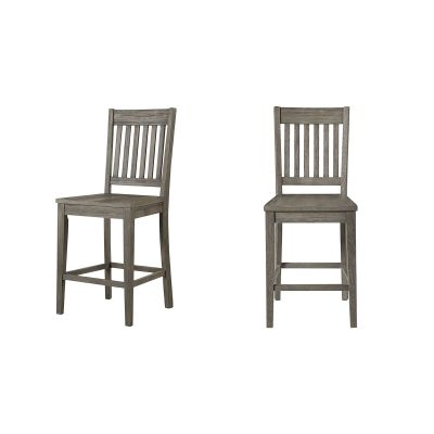 Huron Distressed Gray Slatback Barstool Set of 2