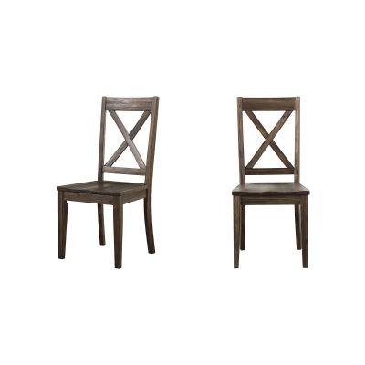 Huron Brown X-Back Dining Side Chair Set of 2