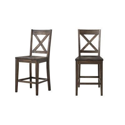 Huron Brown X-Back Barstool Set of 2