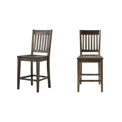 Huron Brown Slatback Barstool Set of 2