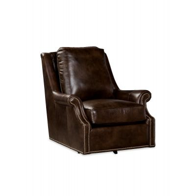 Jelly Brown Leather Swivel Chair
