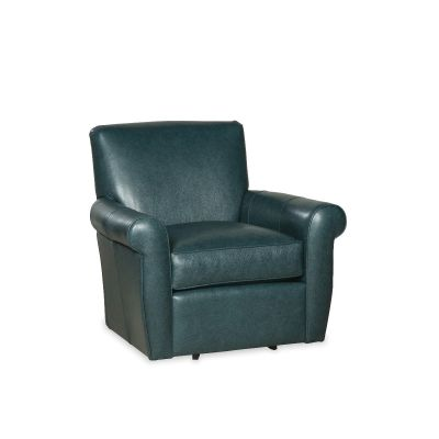Rela Blue Leather Swivel Chair
