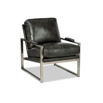 Brisk Black Leather Steel Frame Chair
