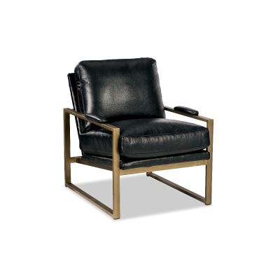 Monto Black Leather Gold Metal Frame Chair