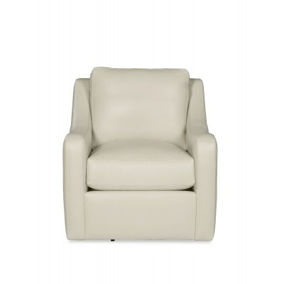 Dragger White Leather Swivel Chair