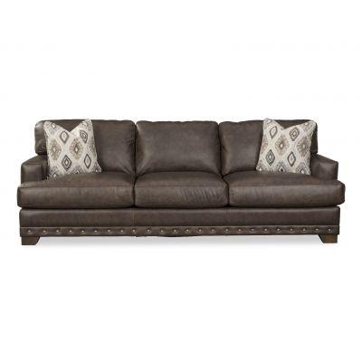 Brook Black  Leather Sofa