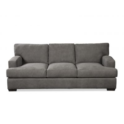 Quinton Dark Grey Leather Sofa Couch