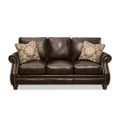 Amisk Chocolate Brown Leather Sofa Couch