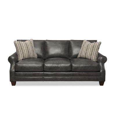 Atticus Black  Leather Sofa Couch