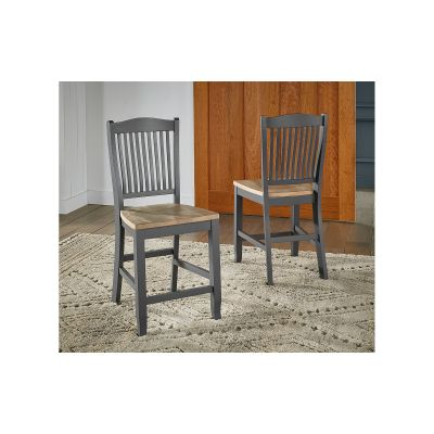Port Townsend Brushed Nickel Slatback Wood Stool Set of 2