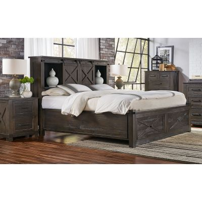 Sun Valley Charcoal Queen Storage Headboard with Storage Footboard Bed