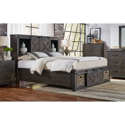 Sun Valley Charcoal Queen Storage Headboard with Rotating Storage Footboard Bed