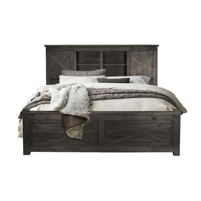 Sun Valley Charcoal Storage Headboard with Storage Footboard Bed